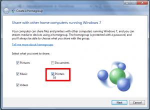 printer homegroup windows